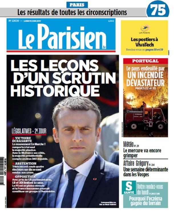télécharger Le Parisien + Supplément Législatives Du Lundi 19 Juin 2017