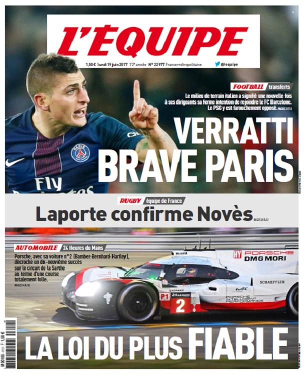 télécharger L'Equipe Du Lundi 19 Juin 2017