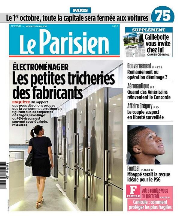 Le Parisien + Journal De Paris Du Mercredi 21 Juin 2017