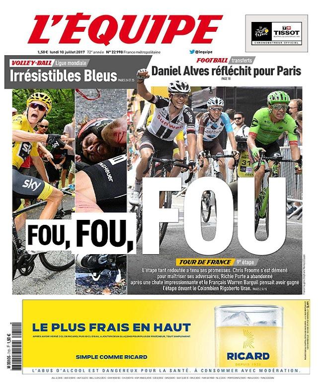 télécharger L'Equipe Du Lundi 10 Juillet 2017