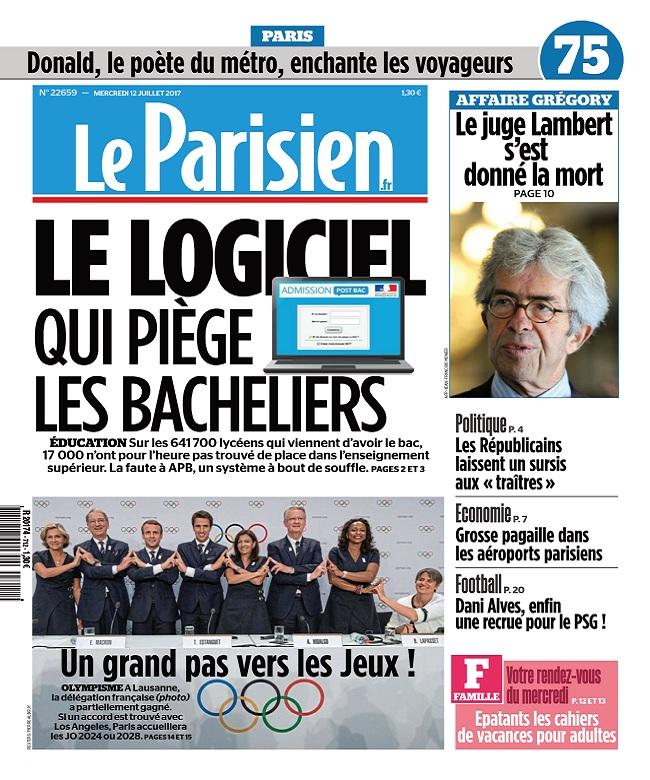 télécharger Le Parisien + Journal De Paris Du Mercredi 12 Juillet 2017