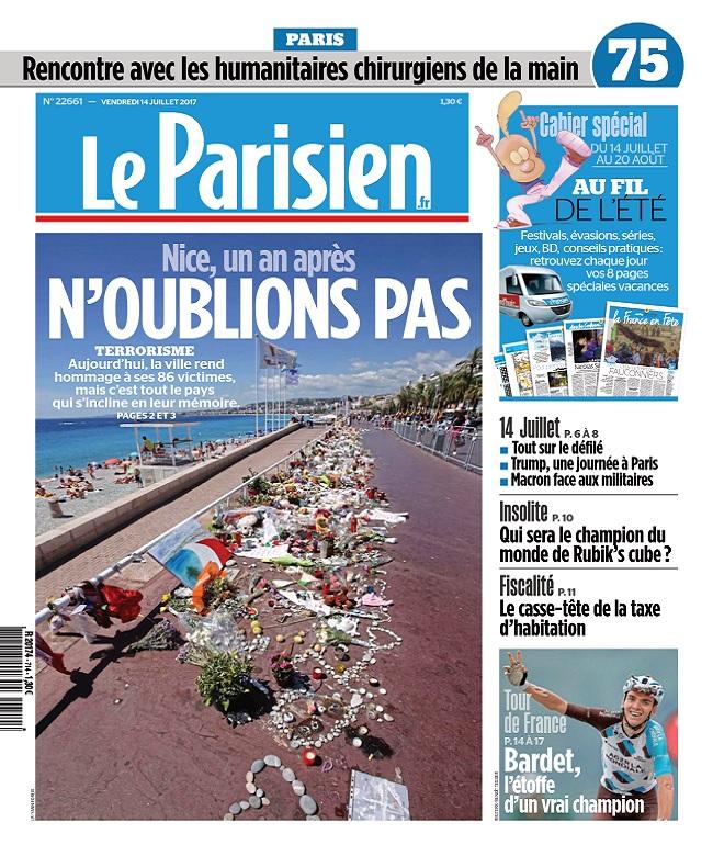 Le Parisien + Journal De Paris Du Vendredi 14 Juillet 2017