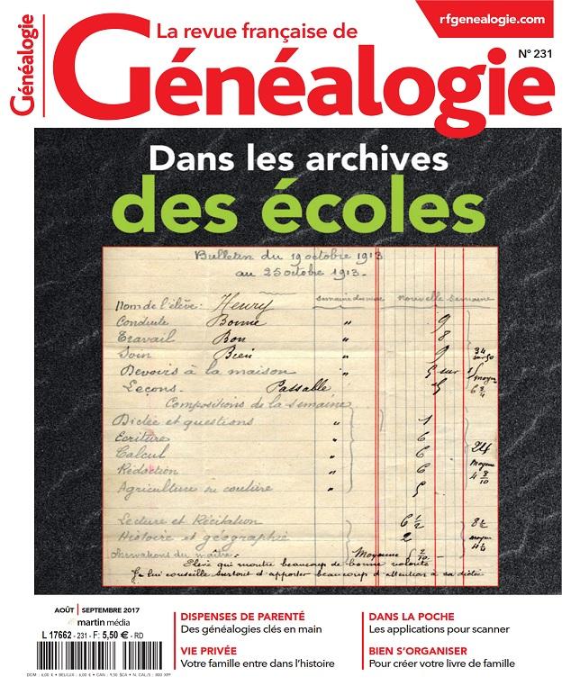 télécharger La Revue Française De Généalogie N°231 - Aout-Septembre 2017
